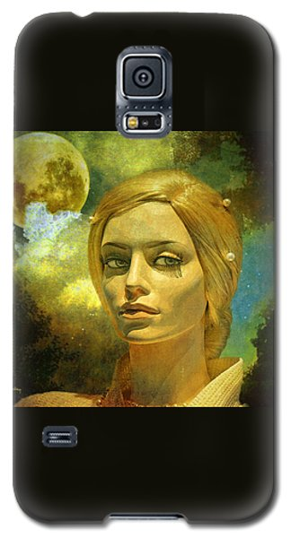 Galaxy S5 Case featuring the mixed media Luna In The Garden Of Evil by Chuck Staley