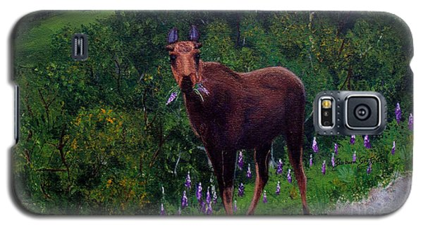 Lupine Loving Moose Galaxy S5 Case by Barbara Griffin