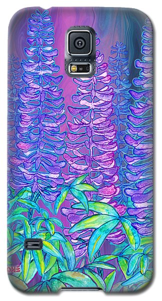 Galaxy S5 Case featuring the mixed media Lupines by Teresa Ascone