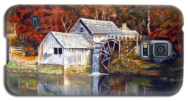 Galaxy S5 Case featuring the painting Mabry Mill Blue Ridge Virginia by LaVonne Hand