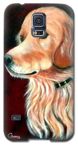 Galaxy S5 Case featuring the painting Mac. The Golden Retriever by Fram Cama