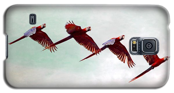 Galaxy S5 Case featuring the photograph Mackaws Flying In A Flock by Peggy Collins