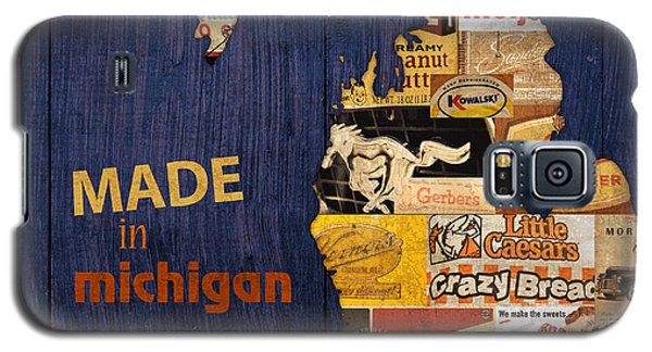 Made In Michigan Products Vintage Map On Wood Galaxy S5 Case