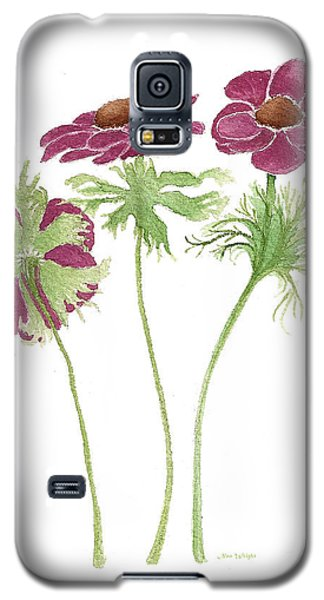 Galaxy S5 Case featuring the painting Magenta Wind Flowers by Nan Wright