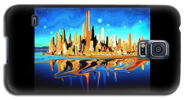 New York Skyline In Blue Orange - Abstract Art Galaxy S5 Case by Art America Gallery Peter Potter