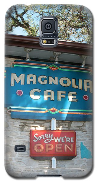 Magnolia Cafe Sign In Austin Galaxy S5 Case by Connie Fox