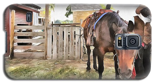Galaxy S5 Case featuring the painting Mahaffie Stagecoach Stop And Farm by Liane Wright