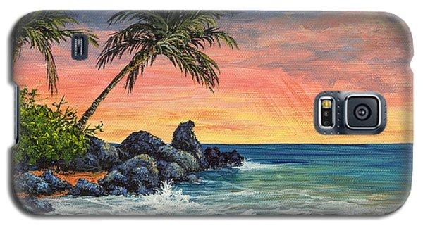 Galaxy S5 Case featuring the painting Makena Beach Sunset by Darice Machel McGuire