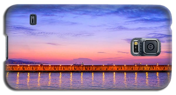 Galaxy S5 Case featuring the photograph Malaga Pink And Blue Sunrise  by Debra Martz