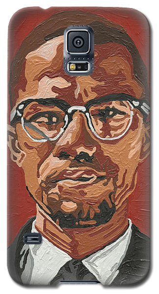Galaxy S5 Case featuring the painting Malcolm X by Rachel Natalie Rawlins