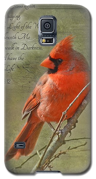 Male Cardinal On Twigs With Bible Verse Galaxy S5 Case