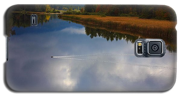 Galaxy S5 Case featuring the photograph Mallard Duck On Lake In Adirondack Mountains In Autumn by Jerry Cowart