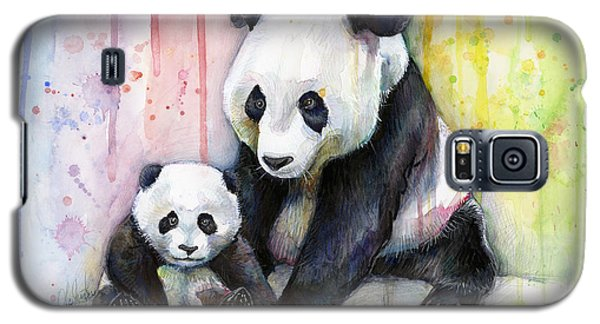 Panda Watercolor Mom And Baby Galaxy S5 Case