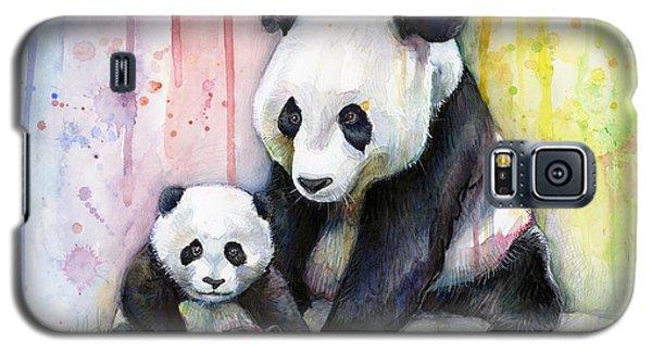 Watercolor Galaxy S5 Case - Panda Watercolor Mom And Baby by Olga Shvartsur
