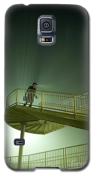 Galaxy S5 Case featuring the photograph Man On Stairs With Case In Fog by Lee Avison