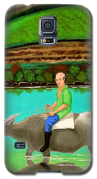 Galaxy S5 Case featuring the painting Man Riding A Carabao by Cyril Maza
