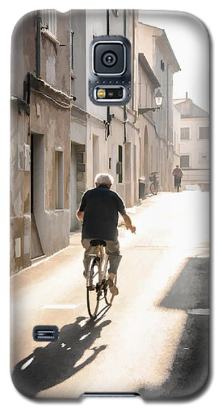 Man Riding Bicycle In Street In Puerto Pollenca Galaxy S5 Case