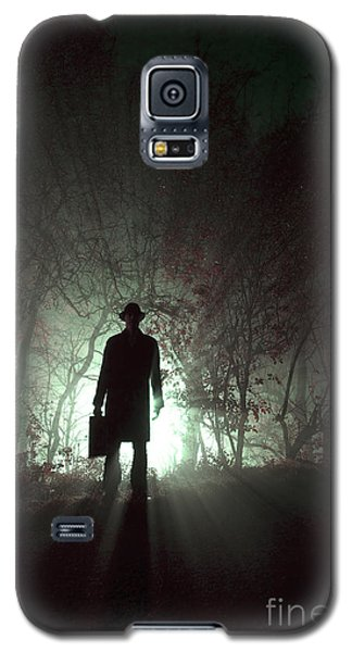 Galaxy S5 Case featuring the photograph Man Waiting In Fog With Case by Lee Avison