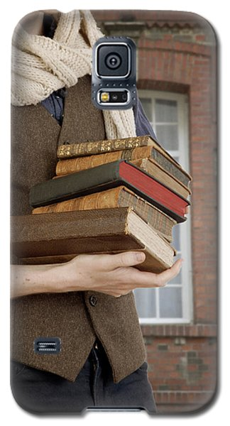 Galaxy S5 Case featuring the photograph Man With Books by Ethiriel  Photography