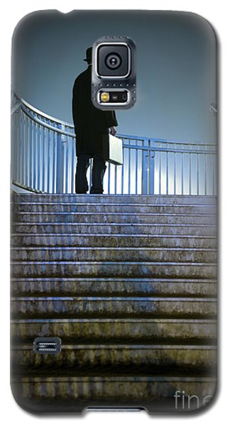 Galaxy S5 Case featuring the photograph Man With Case At Night On Stairs by Lee Avison
