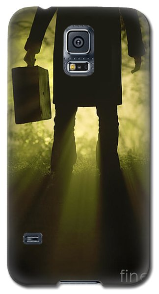 Galaxy S5 Case featuring the photograph Man With Case In Fog by Lee Avison