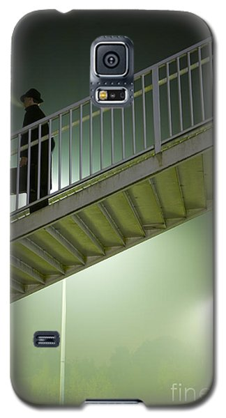Galaxy S5 Case featuring the photograph Man With Case On Steps Nighttime by Lee Avison
