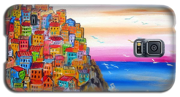 Galaxy S5 Case featuring the painting Manarola 5 Terre by Roberto Gagliardi