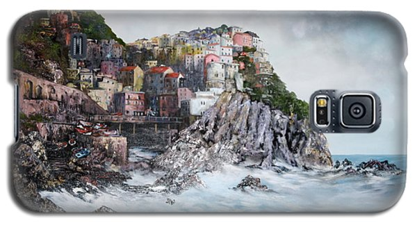 Galaxy S5 Case featuring the painting Manarola Italy by Jean Walker