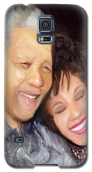 Galaxy S5 Case featuring the painting Mandela And Whitney by Vannetta Ferguson