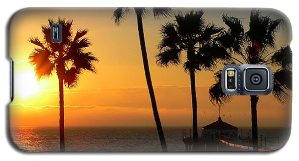 Manhattan Beach Pier And Palms At Sunset Galaxy S5 Case