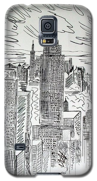 Galaxy S5 Case featuring the drawing Manhattan by Janice Rae Pariza