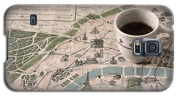 Galaxy S5 Case featuring the photograph Map Of Paris And Demi Tasse by Brooke T Ryan