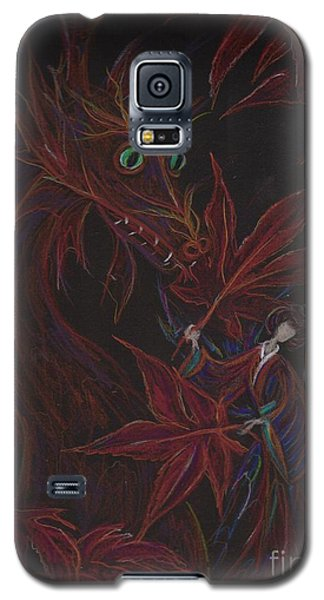 Galaxy S5 Case featuring the drawing Maple Fan by Dawn Fairies