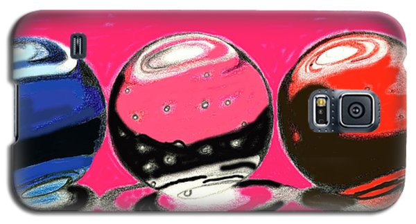 Galaxy S5 Case featuring the drawing Marble Planets by Mary Bedy