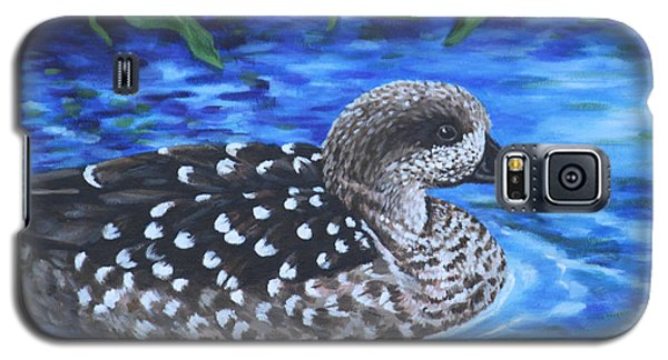 Galaxy S5 Case featuring the painting Marbled Teal Duck On The Water by Penny Birch-Williams
