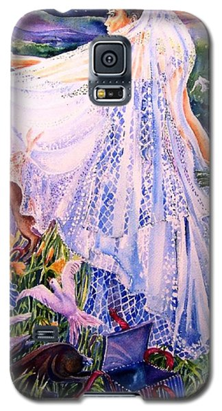 Galaxy S5 Case featuring the painting March Bride With Boxing Hares  by Trudi Doyle