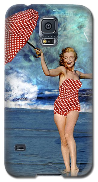 Galaxy S5 Case featuring the photograph Marilyn Monroe - On The Beach by Ericamaxine Price