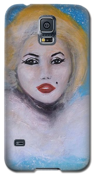 Galaxy S5 Case featuring the painting Marilyn Monroe Out Of The Blue Into The White by Donna Dixon