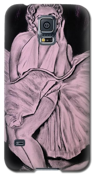 Galaxy S5 Case featuring the drawing Marilyn Monroe Pretty In Pink Lite by Eric Dee