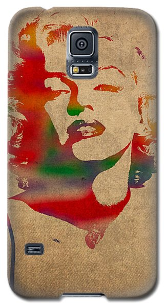 Marilyn Monroe Watercolor Portrait On Worn Distressed Canvas Galaxy S5 Case