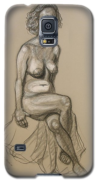 Galaxy S5 Case featuring the drawing Marli - Seated Nude by Donelli  DiMaria