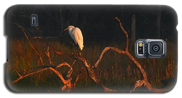 Galaxy S5 Case featuring the digital art Marsh Bird Sunrise by Deborah Smith