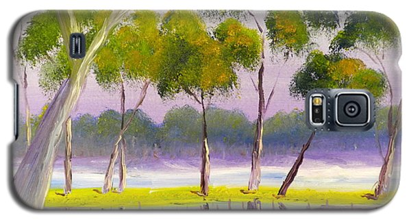 Galaxy S5 Case featuring the painting Marshlands Murray River Red River Gums by Pamela  Meredith