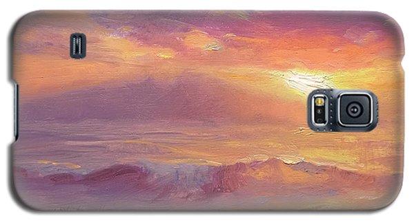 Maui To Molokai Hawaiian Sunset Beach And Ocean Impressionistic Landscape Galaxy S5 Case by Karen Whitworth