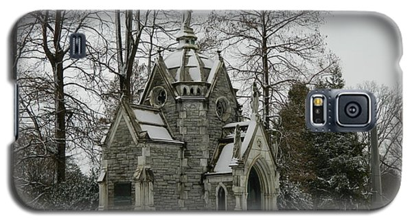 Galaxy S5 Case featuring the photograph Mausoleum In Winter by Kathy Barney