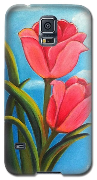 Galaxy S5 Case featuring the painting May Flowers - Pink Tulip Flowers by Shelia Kempf