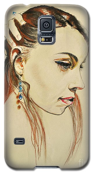 Galaxy S5 Case featuring the drawing Me by Maja Sokolowska