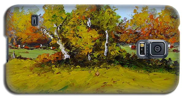Galaxy S5 Case featuring the painting Meadow In Autumn by Fred Wilson