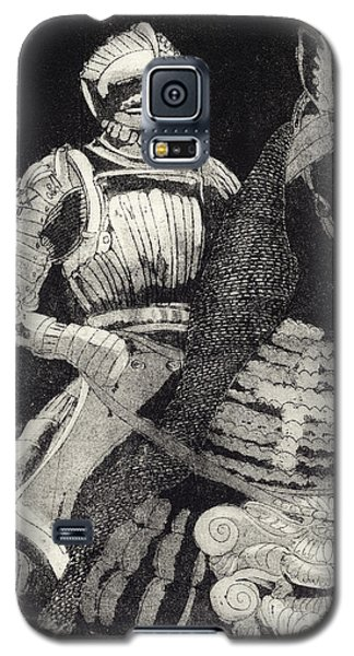 Galaxy S5 Case featuring the painting Medieval Knight On Horseback - Chevalier - Caballero - Cavaleiro - Fidalgo - Riddare -ridder -ritter by Urft Valley Art
