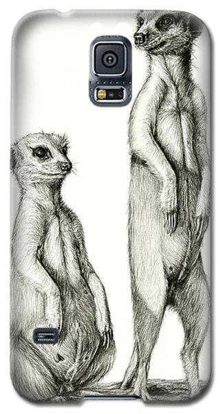 Galaxy S5 Case featuring the drawing Meerkatte by Heidi Kriel